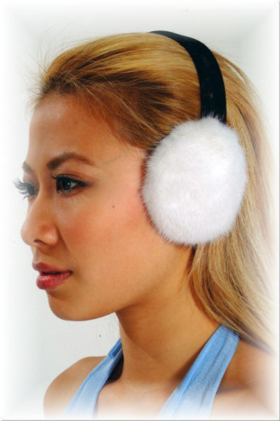 White Mink Fur Earmuffs