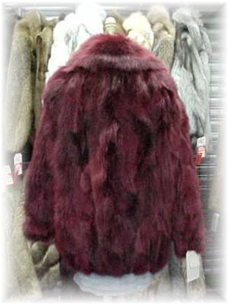 Dyed Cranberry Fox Fur Jacket
