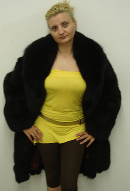 Black Pelt Skin Fox Fur Jacket