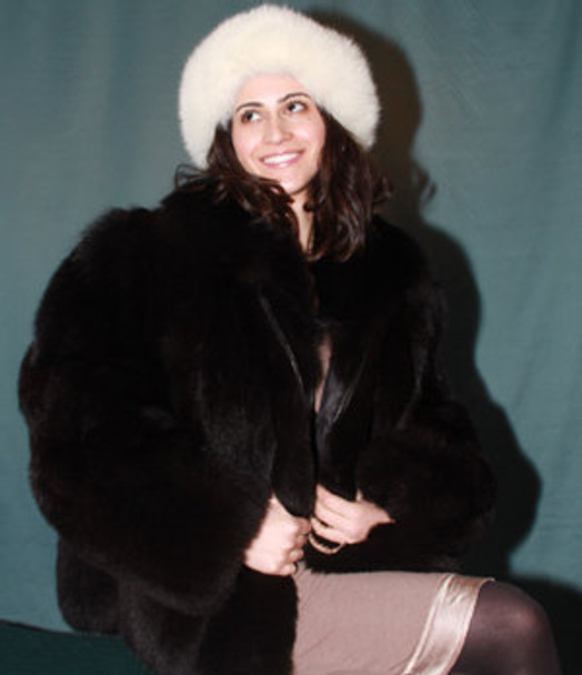 Black Fox Jacket with Zipper Closure
