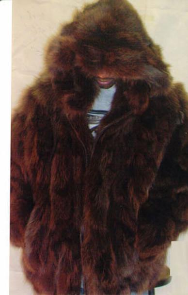Brown Fox Mens Bomber Hooded Fur Jacket