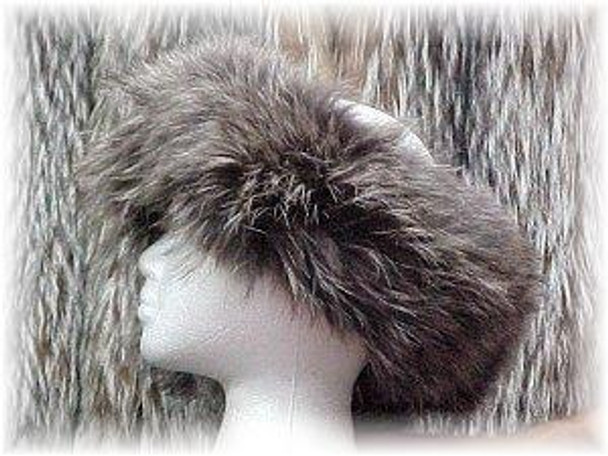 Full Skin Silver Fox Fur Headwrap