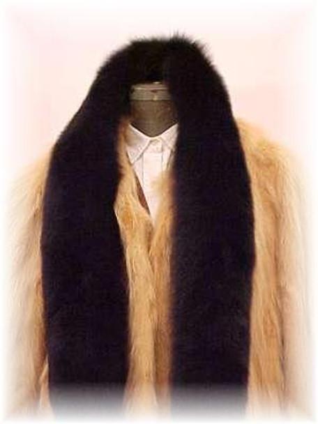 Full Skin Black Fox Fur Scarf 1