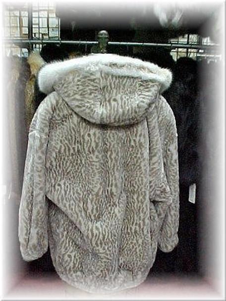 Faux Fur Leopard Print Hooded Jacket