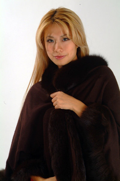 Brown Fox Cape with Fox Fur Trim