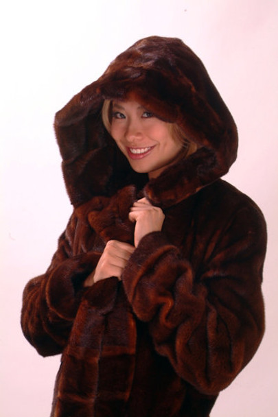 Brown Full Pelt Mink Fur Coat