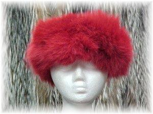 Sectional Dyed Red Fox Fur Head Wrap