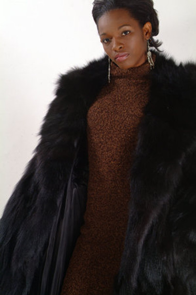 Black Fox Long Coat w/ Large Black Fox Wing Collar