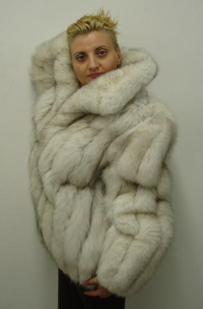 Natural Blue Fox Skin Bomber Fur Jacket