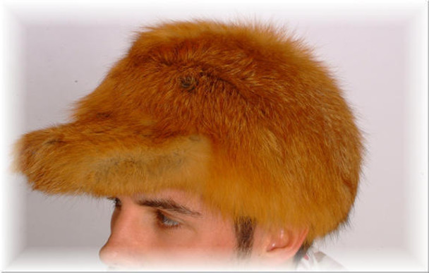 Red Fox Fur Baseball Cap