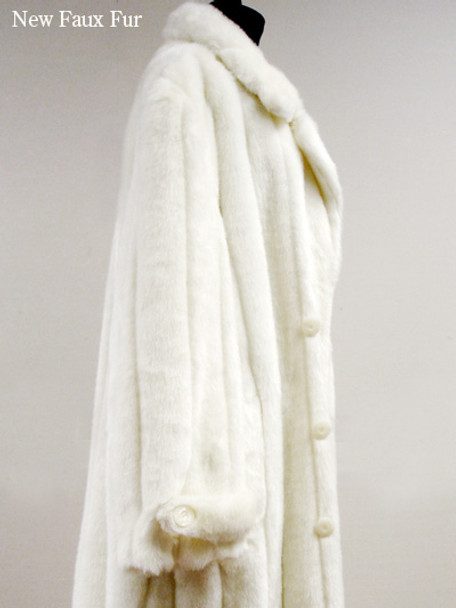 Faux Fur White Mink Long Coat