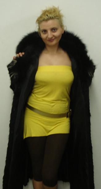 Sheared Black Fox Coat with White Trim