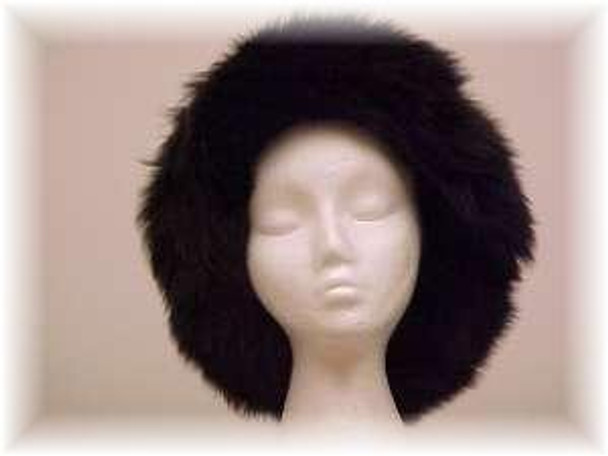 Black Faux Fur Hat with Black Fox Trim