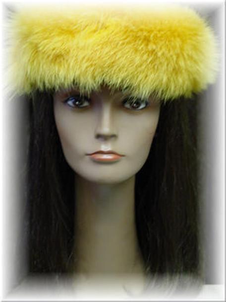 Full Skin Yellow Fox Fur Headwrap