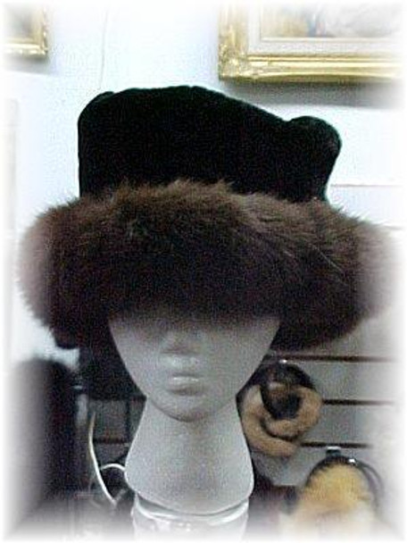 Brown Fox Fur Hat with Beaver Trim & Leather