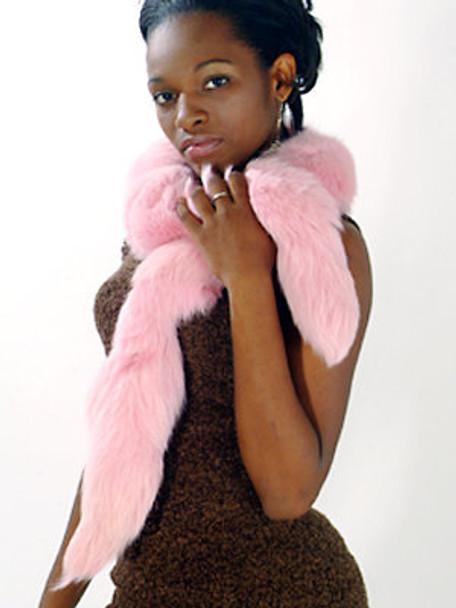 Pink Fox Fur Scarf