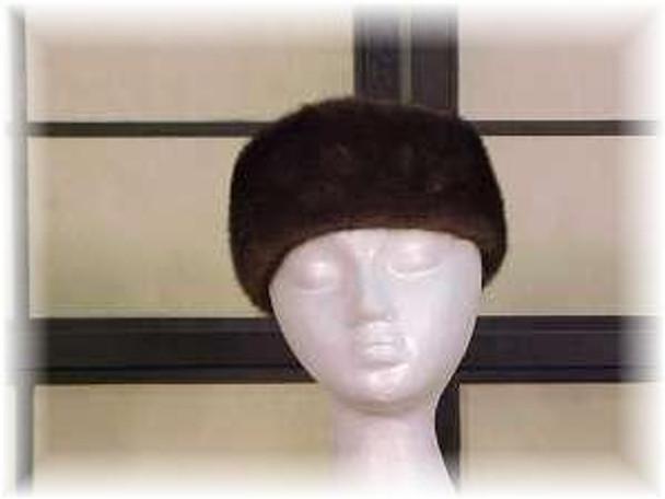 Full Skin Mahogany Mink Fur Head Wrap