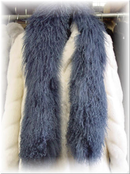 Blue Curly Lamb Boa