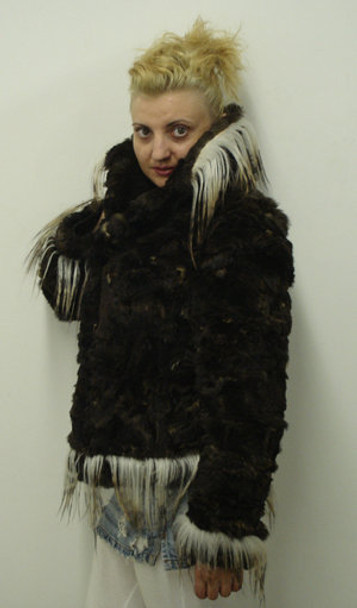 Sheared Fur Fox With Hook Small Collar Jacket