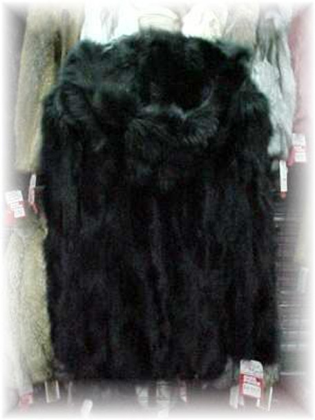 Black Fox Sectional Fur Jacket with Hood