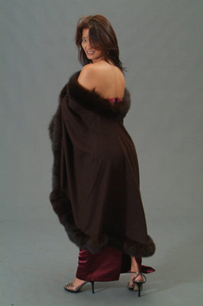 Brown Fox Cape with Fox Fur Trim 1