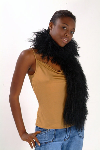 Black Curly Lamb Fur Scarf
