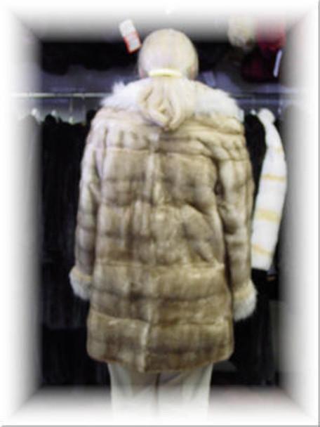 Full Skin Mink Fur Jacket With Full Lynx Fur Collar and Fur Cuffs