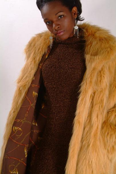 Gold Raccoon Fur Design Coat