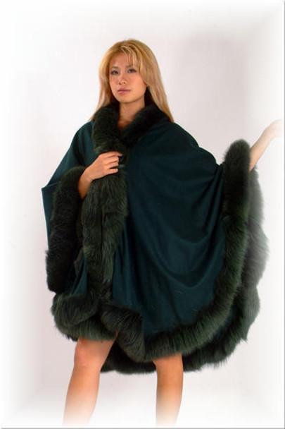 Green Fur Cape with Tail Fur Trim