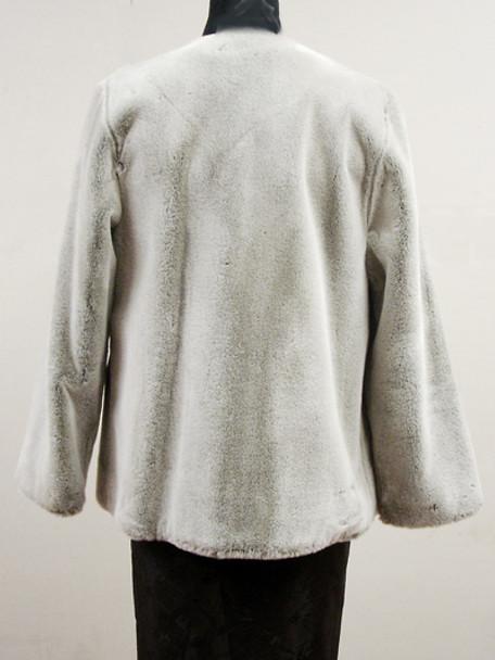 Faux Gray Beaver Fur Jacket