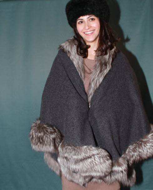 Silver Fur Cape with Fox Fur Trim