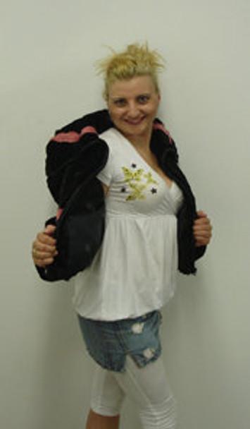 Shreared Fox Black & Pink Color Design Fur Jacket