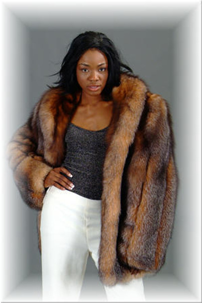 Crystal Fox Fur 3/4 Jacket
