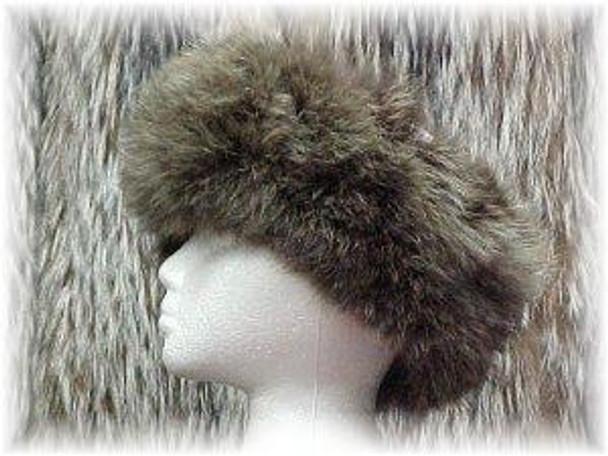 Full Skin Dyed Brown Coyote Fur Headwrap