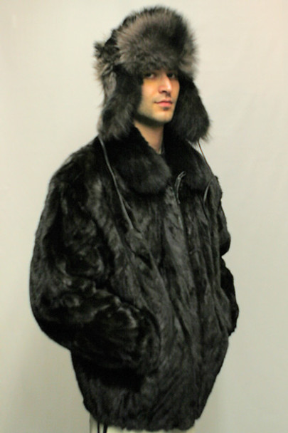 Black Mink Fur Bomber Jacket