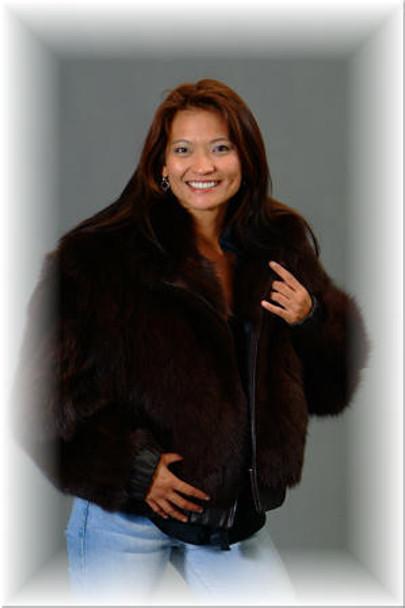 Brown Fox Fur Bolero Jacket