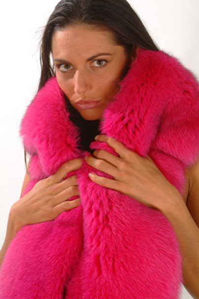Pink Fox Fur Double Design Two Tails Scarf