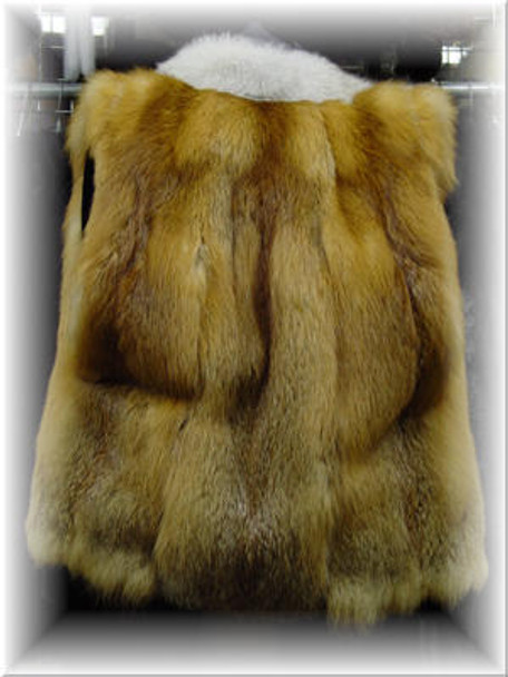 Full Skin Red Fox Vest with Blue Fox Tuxedo