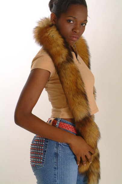 Red Fox Fur Tail Scarf