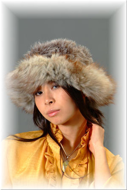 Faux Fur Hat w/ Real Gray Fox Fur Trim