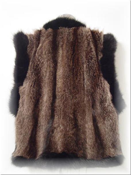 Full Skin Raccoon Fur Vest with Fox Fur Trim