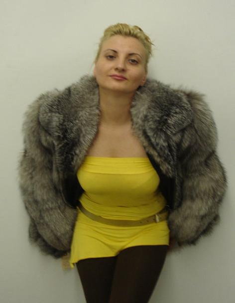 Silver Full Skin Bomber Fur Jacket