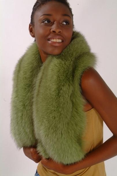 Green Fox Fur Collar