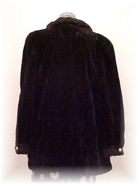 Dyed Black Chenille Sheared Beaver Fur Jacket