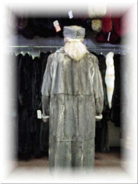 Design Full Skin Gray Mink Fur Coat