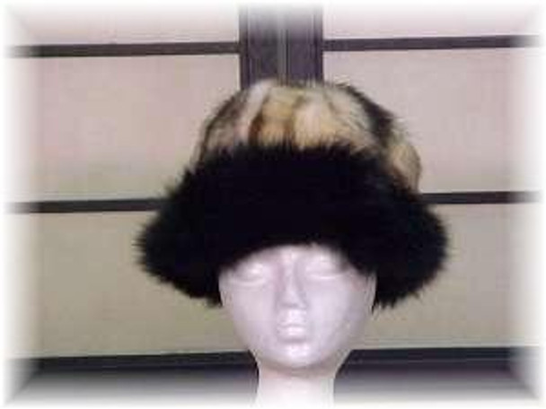 Fitch Fur Hat with Black Fox Fur Trim