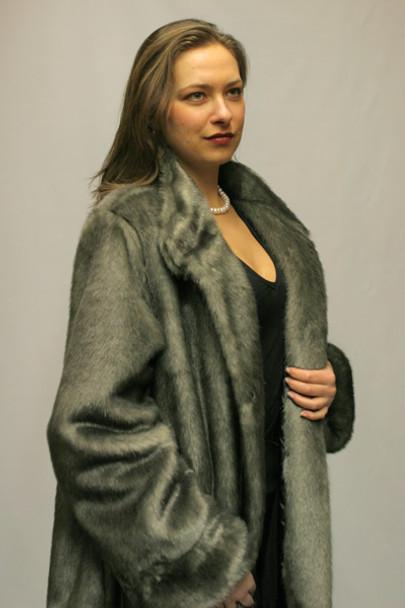 Faux Fur Silver Mink 3/4 Jacket