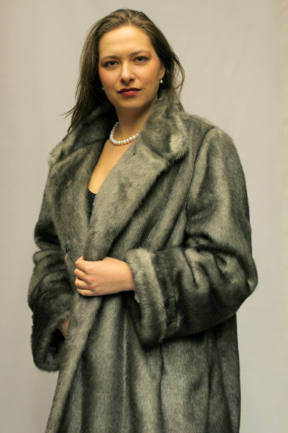 90ed593ea9ee Faux Fur Silver Mink 3/4 Jacket - furoutlet - fur coat, fur jackets ...