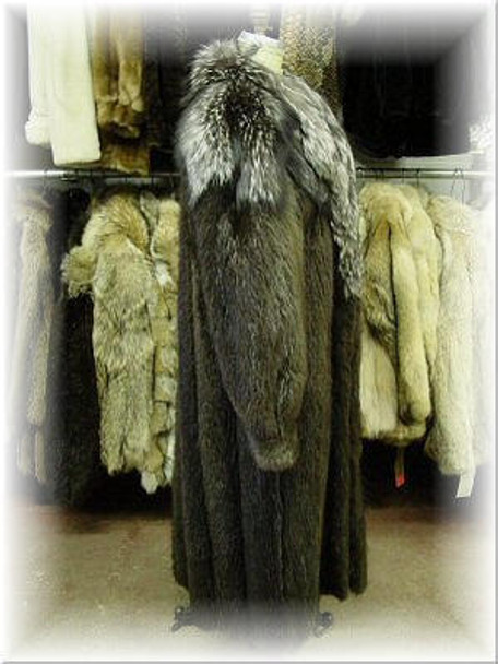 Full Skin Beaver Fur Coat With Indigo Fox