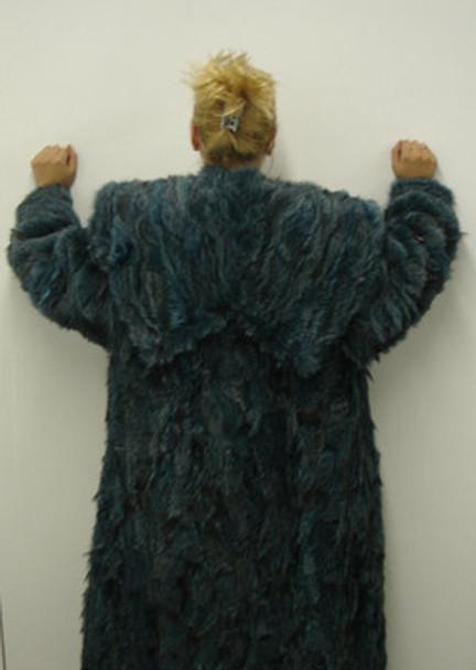 Purple Fox Fur Long Coat Double Hood